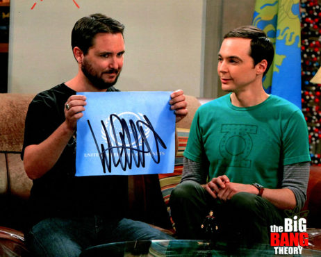 Wil Wheaton SIGNED photo: Big Bang Theory fun with flags